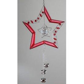 Hängedeko Stern in rot mit silbernen Glöckchen, 42 cm