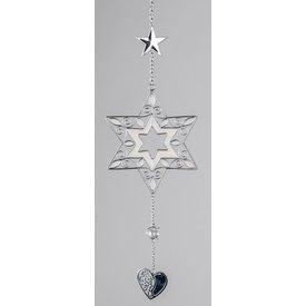 Hängedeko Stern in weiß mit silbernem Herz, 40 cm