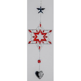 Hängedeko Stern in rot mit silbernem Herz, 40 cm