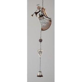 Weihnachtliche Hängedeko Engel mit Herz und Glocke, braun, 54 cm