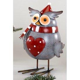 Dekofigur Wackeleule Wintereule grau mit rotem Herz, 26 cm