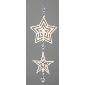 Hängedeko 2 Sterne Metall gold, 30 cm