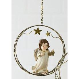 Weihnachtliche Hängedeko Engel im Sternenring mit Laterne, 18 cm