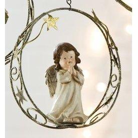 Weihnachtliche Hängedeko Engel mit gefalteten Händen im Sternenring, 18 cm