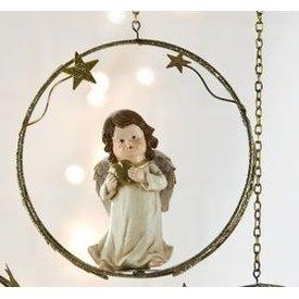 Weihnachtliche Hängedeko Engel mit Herz in den Händen im Sternenring, 18 cm