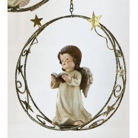 Weihnachtliche Hängedeko Engel mit Buch in den Händen im Sternenring, 18 cm