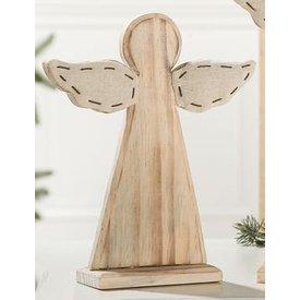 Wunderschöner Dekoständer aus Holz und Textil mit Engel, 30 cm