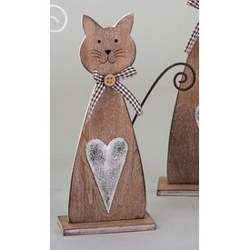 Dekokatze aus Holz, sitzend, braun, 22 cm