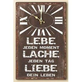 Nostalgische Wanduhr mit Spruch, braun, 25x38 cm