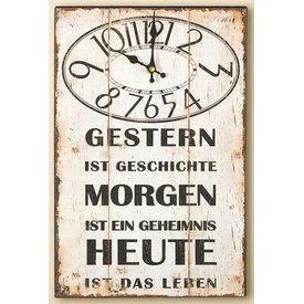Nostalgische Wanduhr mit Spruch, creme, 25x38 cm