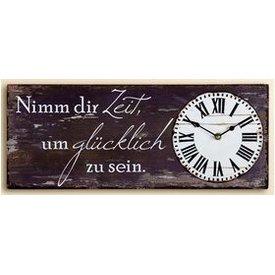 Nostalgische Wanduhr mit Spruch, braun, 20x50 cm