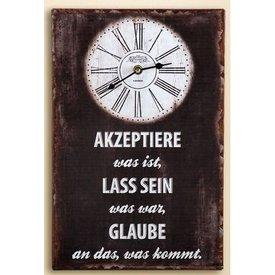 Nostalgische Wanduhr mit Weisheitenspruch, braun, 25x38 cm
