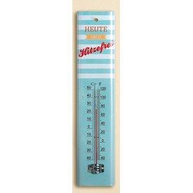 Nostalgischer Thermometer aus Metall mit Spruch, blau, 30,5 cm