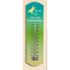 Trendiger Thermometer aus Metall nach dem Regen kommt wieder Sonnenschein, 27 cm