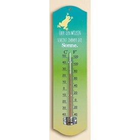 Trendiger Thermometer aus Metall, über den Wolken scheint immer die Sonne, 27 cm