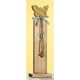 Dekoständer aus Mangoholz mit buntem Schmetterling, 79 cm