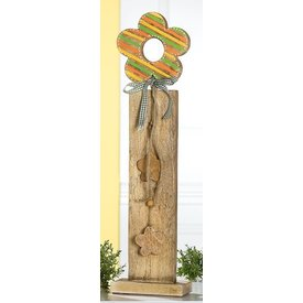 Dekoständer aus Mangoholz mit bunter Blume, 85 cm