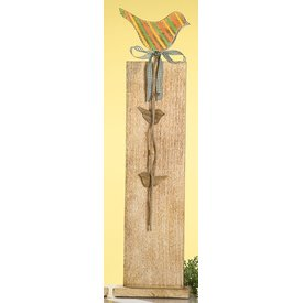 Dekoständer aus Mangoholz mit buntem Vogel, 77 cm