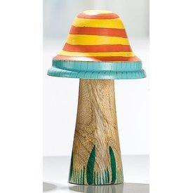 Dekofigur Pilz aus Holz und Metall, gelb mit Streifen, 16x9 cm