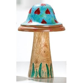 Dekofigur Pilz aus Holz und Metall, blau, 16x9 cm