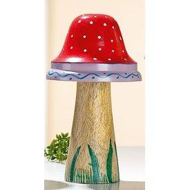 Dekofigur Pilz aus Holz und Metall, rot, 16x9 cm
