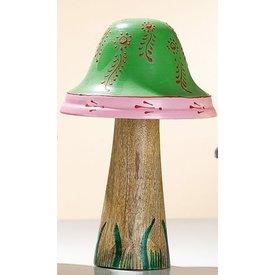 Dekofigur Pilz aus Holz und Metall, grün, 16x9 cm