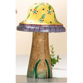 Dekofigur Pilz aus Holz und Metall, gelb mit Blümchen, 16x9 cm