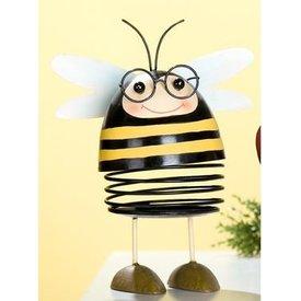 Dekofigur Lustige Biene aus Metall mit Wackelkopf, 20x9 cm
