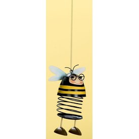 Dekofigur Lustiger Biene aus Metall mit Wackelkopf, hängend, 20x9 cm