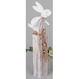 Wunderschöner Dekoständer aus Holz mit Hase, 52 cm