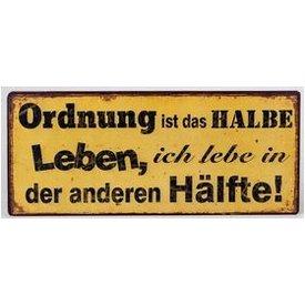 """Nostalgisches Blechschild als Wandbild mit Aufschrift """"Ordnung..."""", 30x13 cm"""