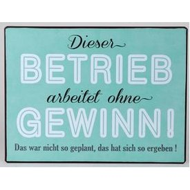"Nostalgisches Blechschild als Wandbild mit Aufschrift ""Gewinn..."", 35x26  cm"