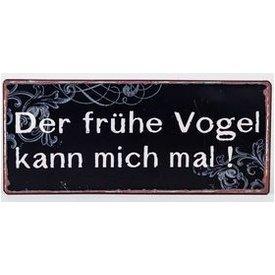 """Nostalgisches Blechschild als Wandbild mit Aufschrift """"Vogel..."""", 30x13 cm"""
