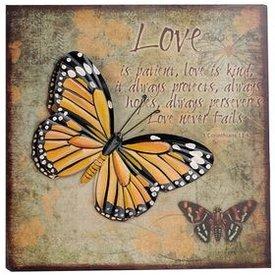 Nostalgisches Wandbild mit Schmetterling und 3D Effekten, gelb 40x40 cm