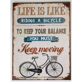 Nostalgisches Wandbild mit Fahrrad und Aufschrift, 30x40 cm