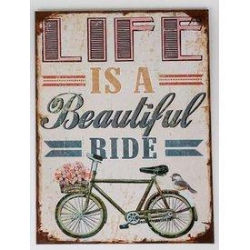 Nostalgisches Wandbild mit Fahrrad, Blume und Aufschrift, 30x40 cm