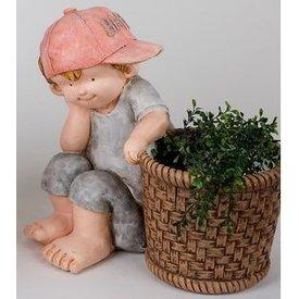 Dekofigur Sommerkind Erich mit Pflanzkübel, 40 cm
