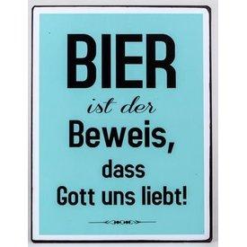 Nostalgisches Blechschild als Wandbild mit Aufschrift, Bier., 35x26 cm
