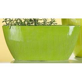 Nostalgische Pflanzschale oval, grün, 11x32x14