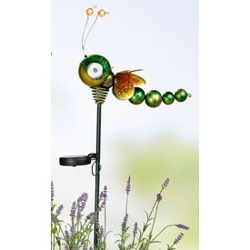 bunte Solarlibelle aus Metall mit Gartenstab, 80,2 cm