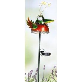 bunte Solarvogel aus Metall mit Gartenstab, spitzer Mund 80 cm