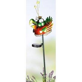 bunte Solarvogel aus Metall mit Gartenstab, runder Mund 80 cm