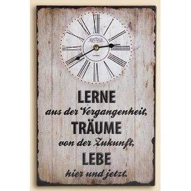 Nostalgische Wanduhr mit Weisheitenspruch, creme, 25x38 cm