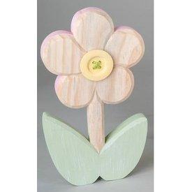 Dekofigur Dekoblume aus Holz mit gelber Blüte, 28 cm