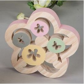 Dekofigur Dekoblume aus Holz mit rosanem Rand, 13 cm