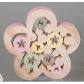 Dekofigur Dekoblume aus Holz mit rosanem Rand, 19 cm