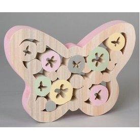 Dekofigur Dekoschmetterling aus Holz mit rosanem Rand, 22 cm