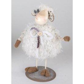 Dekofigur Wackelschaf Frieda, weiß, stehend, 24 cm