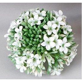 Dekokugel aus Kunststoff in Blumenform, grün weiß, 8 cm