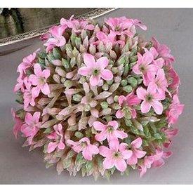 Dekokugel aus Kunststoff in Blumenform, grün rosa, 8 cm